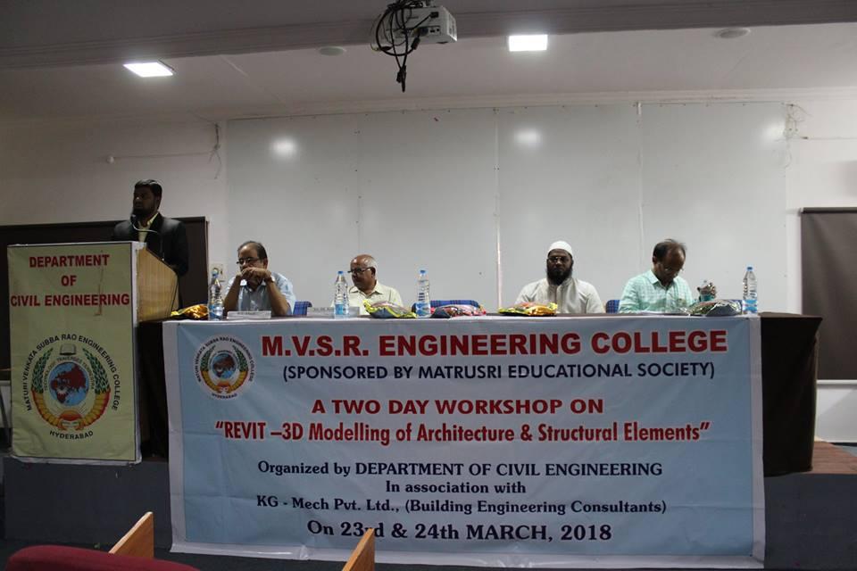 CIVIL WORKSHOP on REVIT-3D @ MVSR Engineering College.
